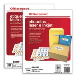 ETIQUETAS LASER INKJET 2 5/8X1 OFFICE DEPOT 750 - Envío Gratuito