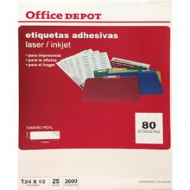 ETIQUETA LASER INKJET 1 3/4X1/2 OFFICE DEPOT 2000 - Envío Gratuito