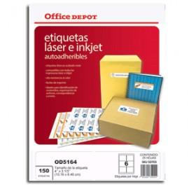ETIQUETAS 4X3 1/3 LASER INKJET OFFICE DEPOT 150 - Envío Gratuito