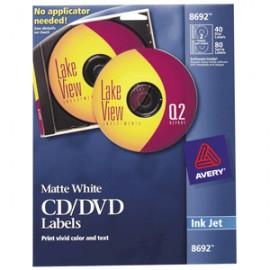 ETIQUETA CD/DVD INKJET BLANCA CON 40 AVERY - Envío Gratuito