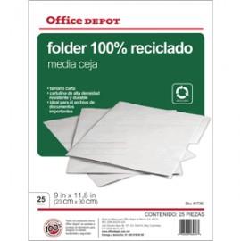 FOLDER CARTA OFFICE DEPOT RECICLADO CON 25 PIEZAS - Envío Gratuito