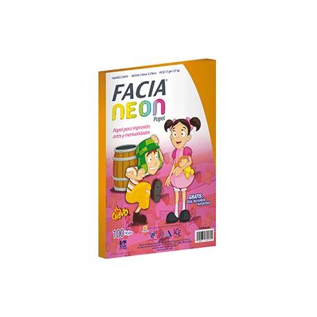 PAPEL NEON NARANJA PAQUETE CON 100 HOJAS FACIA - Envío Gratuito