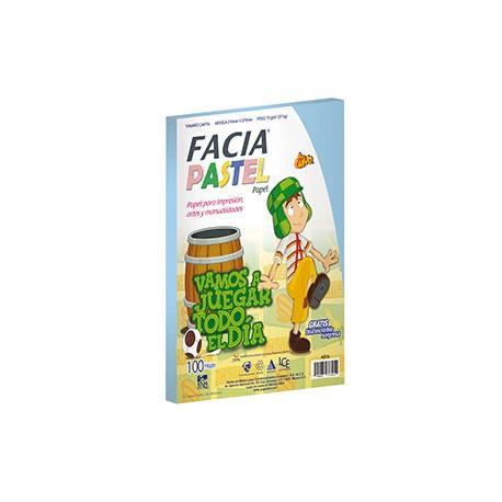 PAPEL PASTEL COLOR AZUL PAQUETE CON 100 HOJAS FACIA - Envío Gratuito