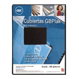 CUBIERTA GBC GBPLACK PLASTICA RAYADA HUMO CON 20 - Envío Gratuito