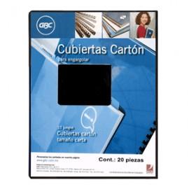 CUBIERTA DE CARTON GBC COLOR NEGRO CON 20 PIEZAS - Envío Gratuito