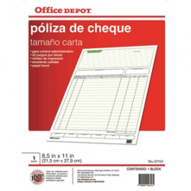 POLIZA CHEQUES OFFICE DEPOT CARTA 5 BLOCKS - Envío Gratuito