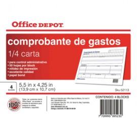 COMPROBANTE GASTOS OFFICE DEPOT 1/4 CARTA - Envío Gratuito