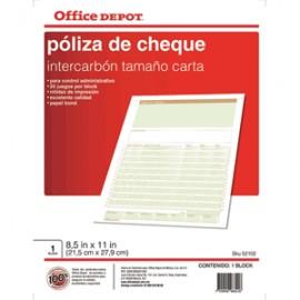 POLIZA CHEQUES OFFICE DEPOT CARTA CON 25 PIEZAS - Envío Gratuito