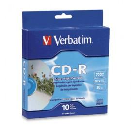 CD-R VERBATIM INKJET PRINT 700MB 80MIN 52X 10 PIEZ - Envío Gratuito
