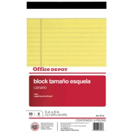 BLOCK TAMANO ESQUELA 5 X 8 CANARIO OFFICE DEPOT - Envío Gratuito