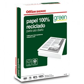 RESMA PAPEL RECICLADO 100 OFFICE DEPOT CARTA - Envío Gratuito