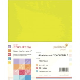 PAPEL AUTOADHERIBLE POCHTECA CARTA AMARILLO C/50 - Envío Gratuito
