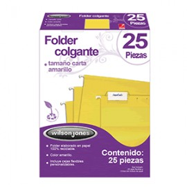 FOLDER COLGANTE WILSON JONES CARTA AMARILLO 25 PZS - Envío Gratuito