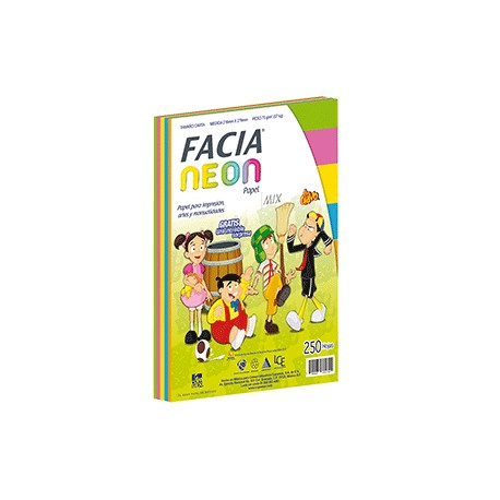 PAPEL NEON MIX 5 COLORES CON 250 FACIA - Envío Gratuito