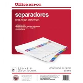 SEPARADORES INDICE OFFICE DEPOT A-Z - Envío Gratuito