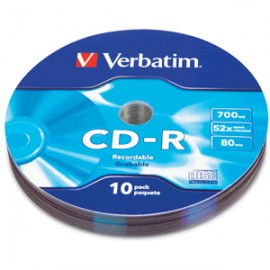 CD-R VERBATIM 52X BULK WRAP 10 PIEZAS - Envío Gratuito