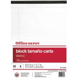 BLOCK TAMANO CARTA 8.5X11.7 BLANCO OFFICE DEPOT - Envío Gratuito